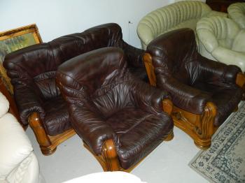 set canapea si fotolii 3+1+1 cadru lemn masiv maro