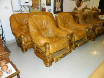 set canapea extensibil piele naturala